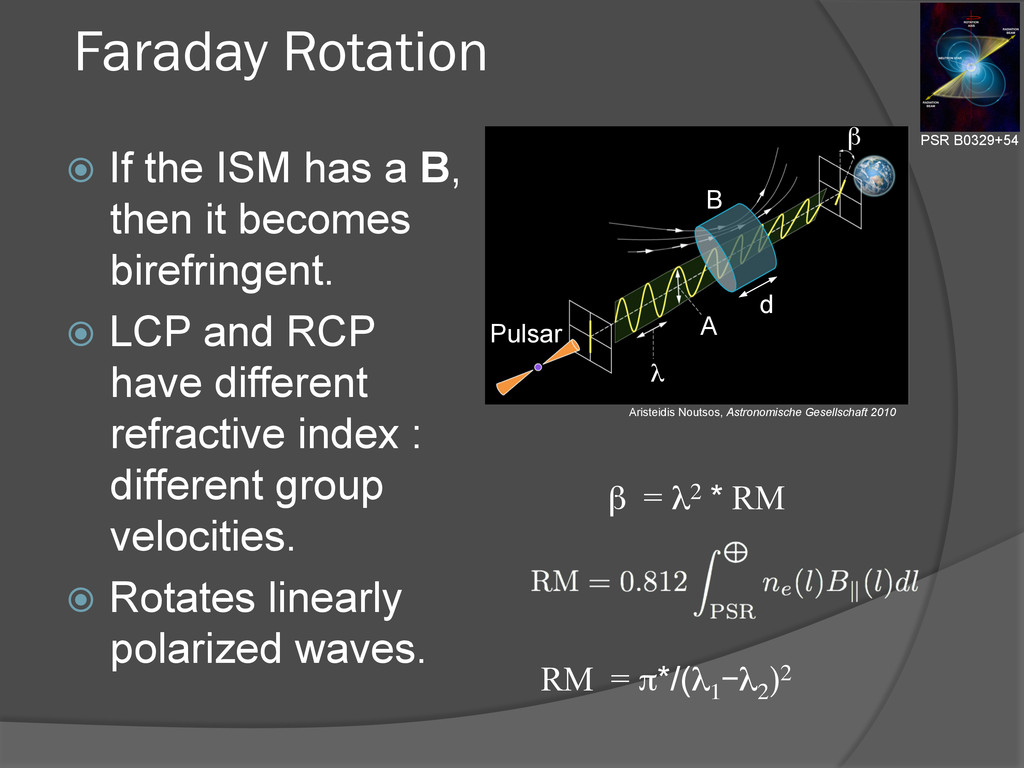 Faraday Rotation ž If the ISM has a B, then i...