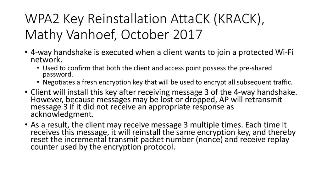 WPA2 Key Reinstallation AttaCK (KRACK), Mathy V...