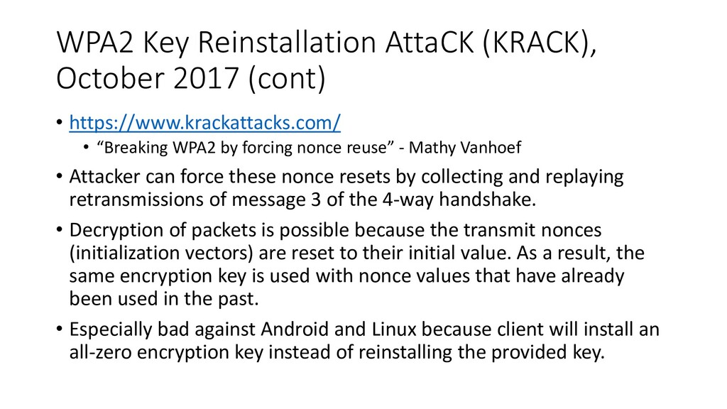 WPA2 Key Reinstallation AttaCK (KRACK), October...