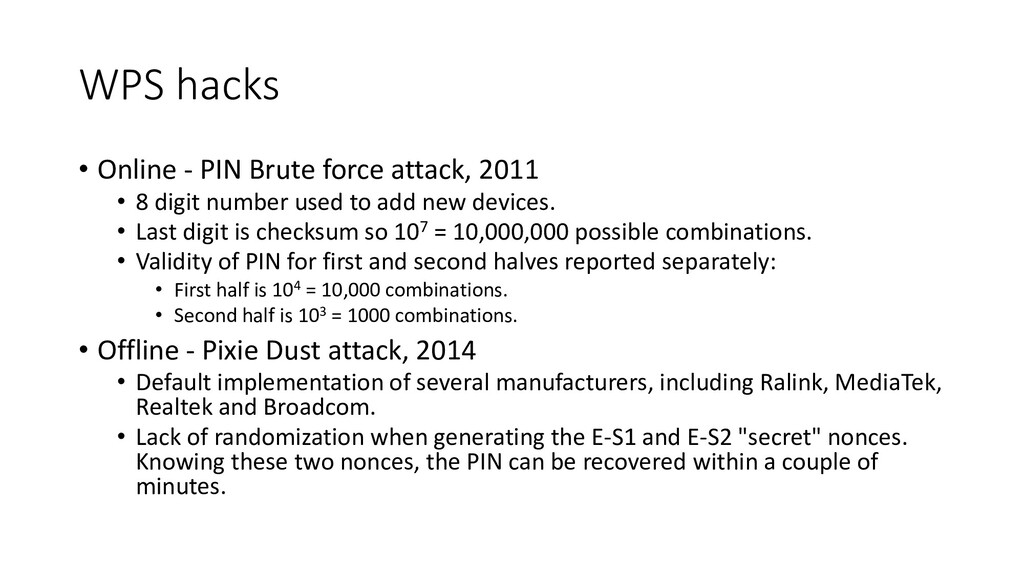 WPS hacks • Online - PIN Brute force attack, 20...