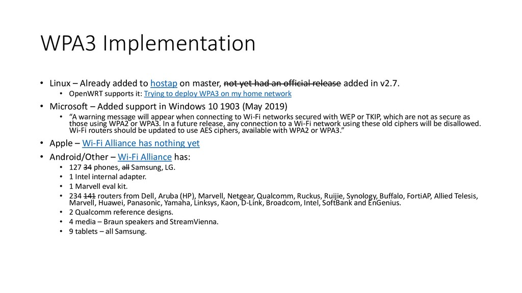 WPA3 Implementation • Linux – Already added to ...