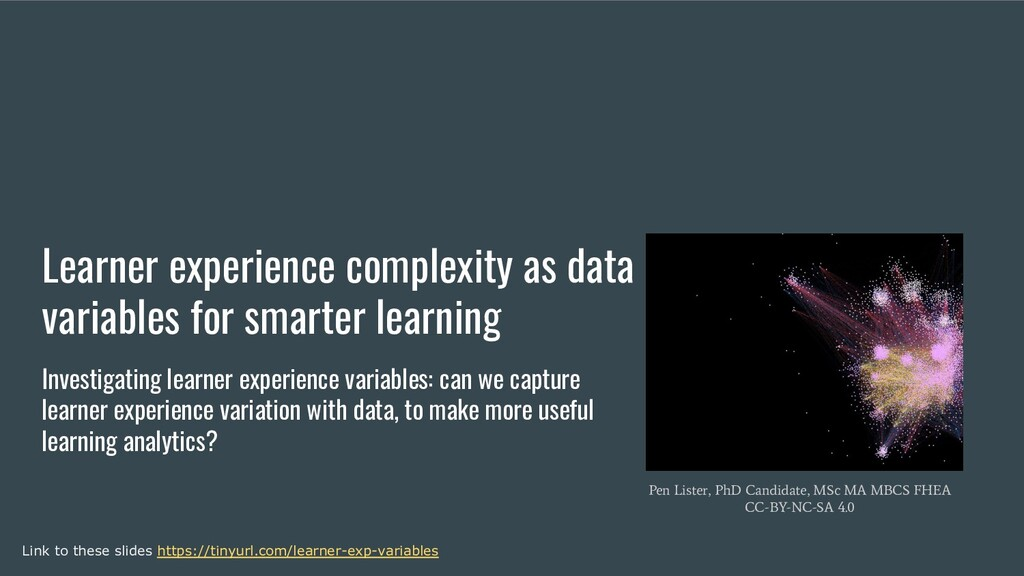 Learner experience complexity as data variables...