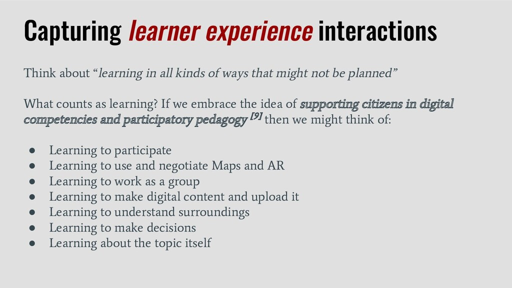 Capturing learner experience interactions Think...