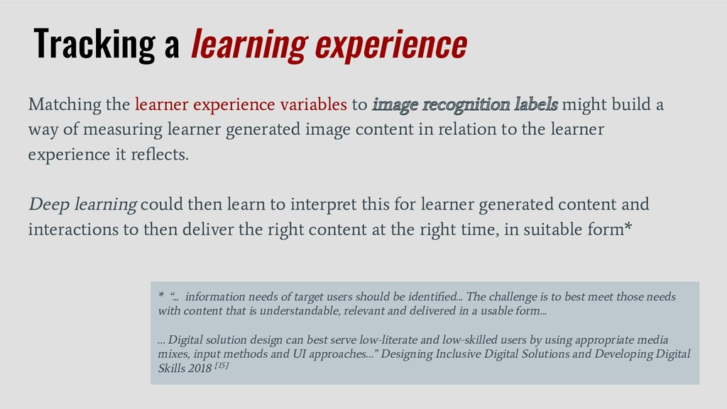 Matching the learner experience variables to im...