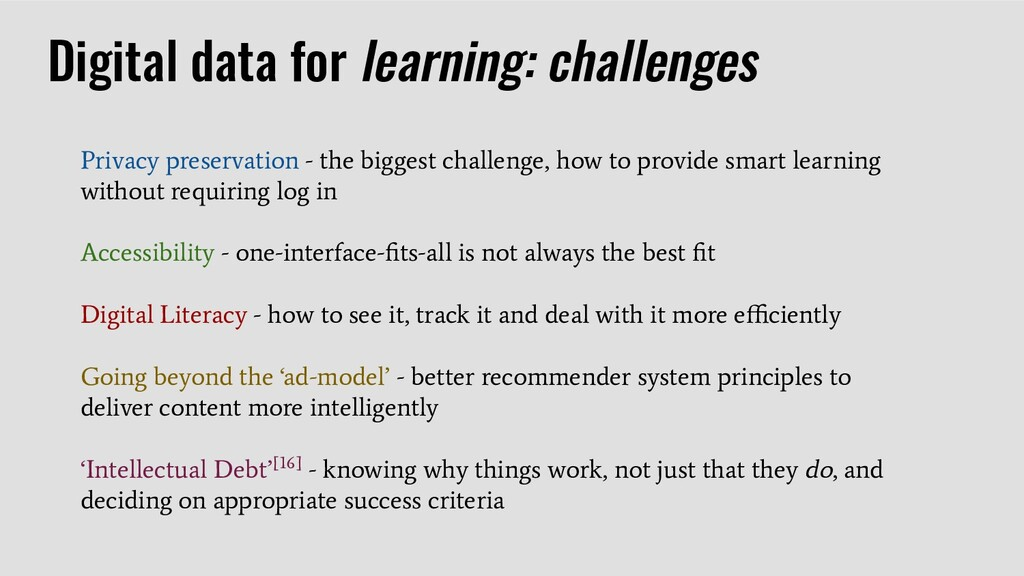 Digital data for learning: challenges Privacy p...