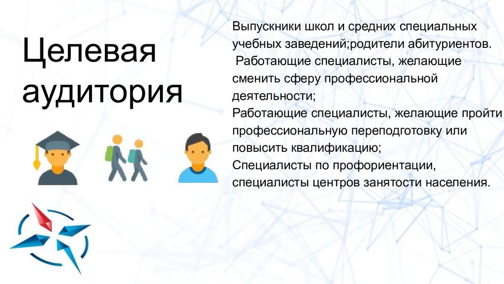 Целевая аудитория Выпускники школ и средних спе...