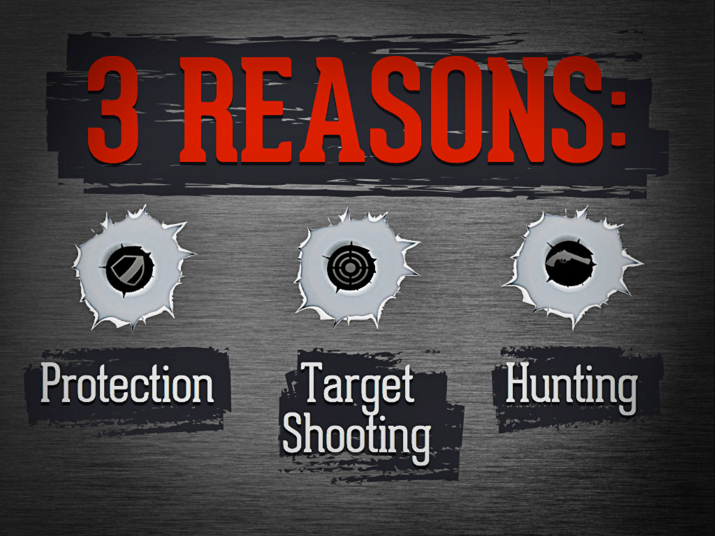 3 reasons: Protection , Target Shooting, Hunting