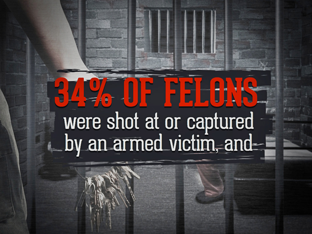 34% of felons were shot at or captured by an ar...