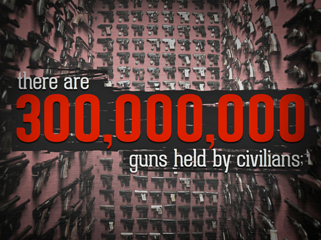 There are 300,000,000 guns held by civilians;