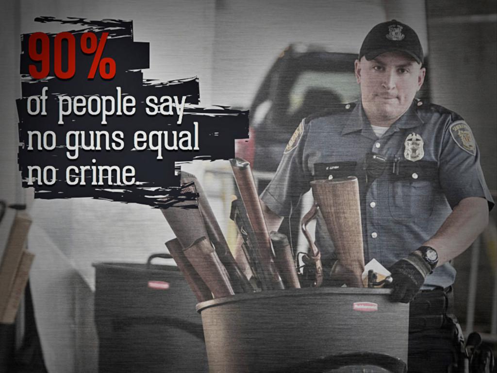 90% of people say no guns equal no crime.