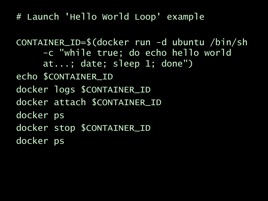 # Launch 'Hello World Loop' example CONTAINER_I...