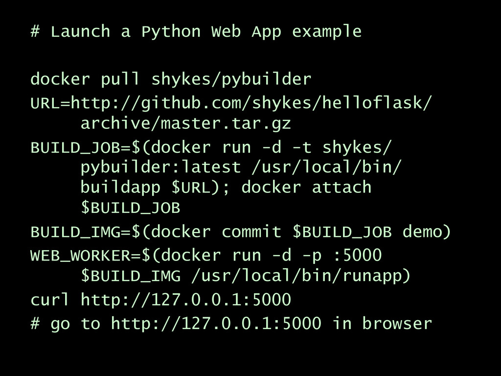 # Launch a Python Web App example docker pull s...