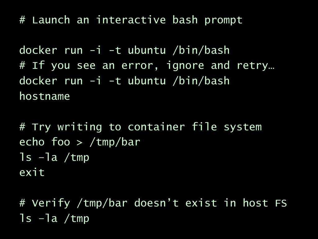 # Launch an interactive bash prompt docker run ...