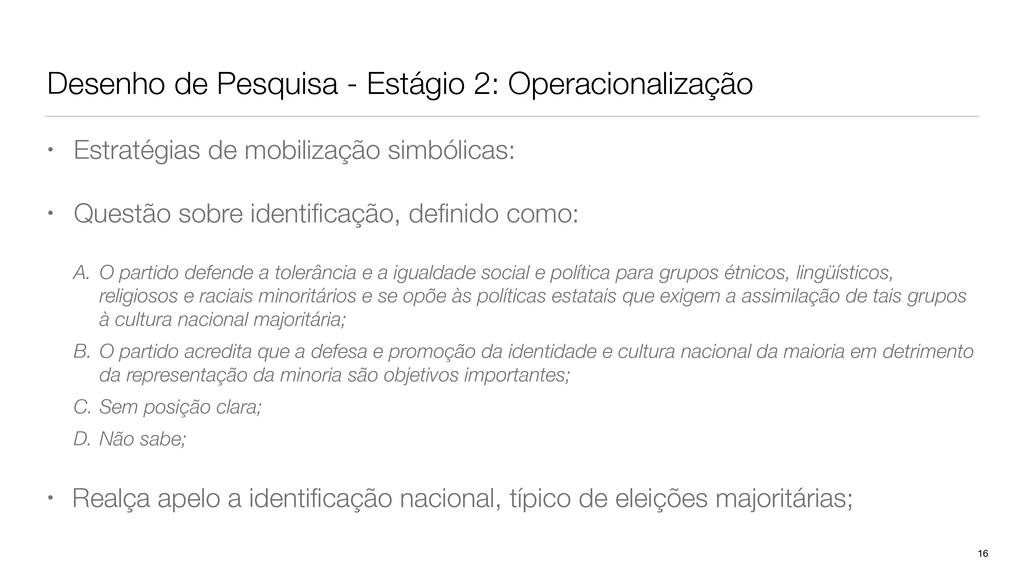 Desenho de Pesquisa - Estágio 2: Operacionaliza...