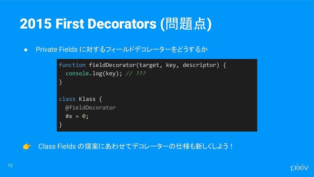 12 2015 First Decorators (問題点) ● Private Fields...