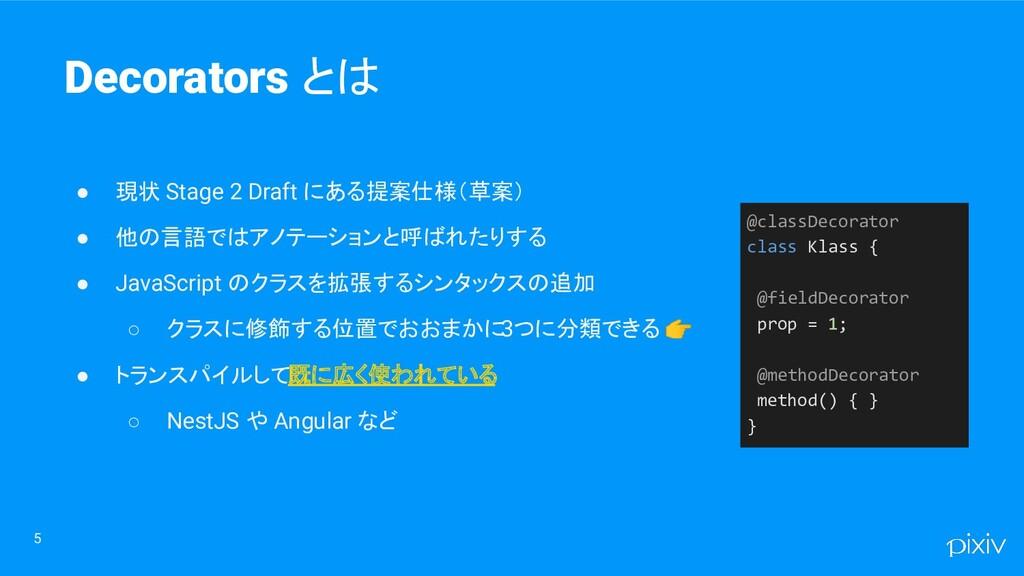 5 Decorators とは ● 現状 Stage 2 Draft にある提案仕様(草案) ...