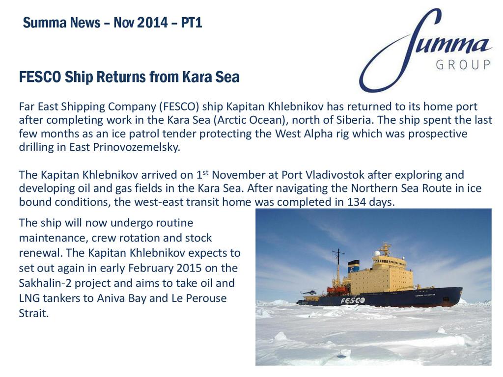 FESCO Ship Returns from Kara Sea Far East Shipp...