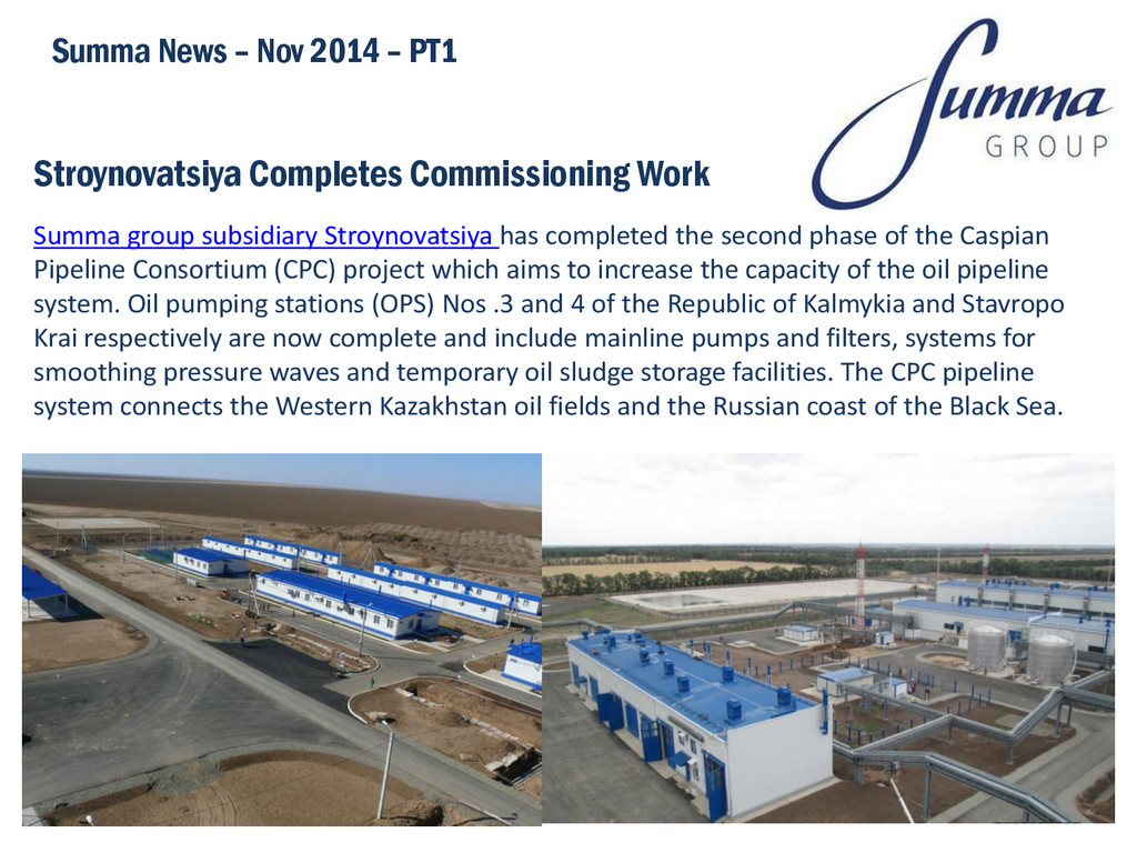 Stroynovatsiya Completes Commissioning Work Sum...