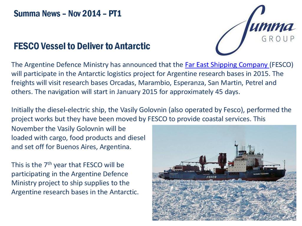 FESCO Vessel to Deliver to Antarctic Summa News...