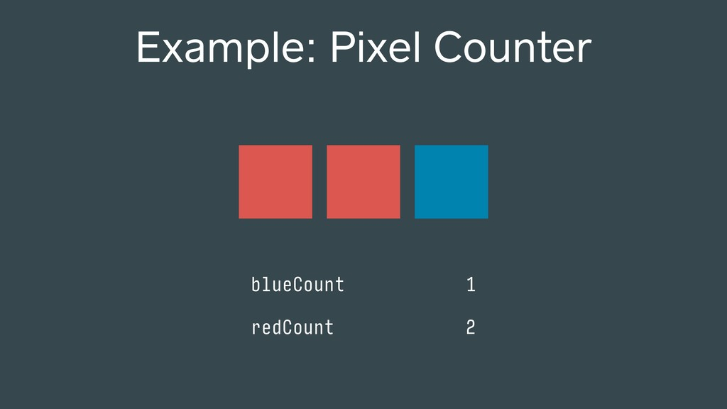 Example: Pixel Counter blueCount 1 redCount 2