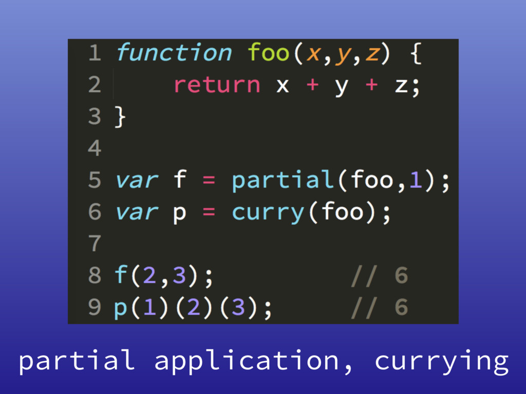 partial application, currying