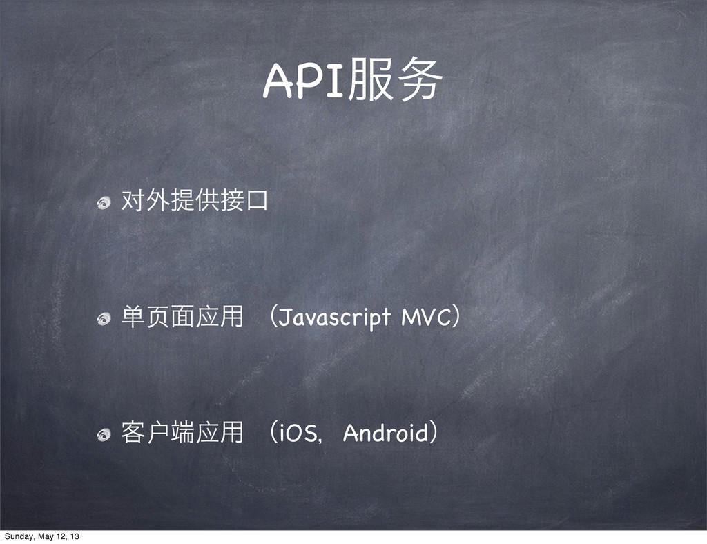API务 对֎ఏڙޱ 单页໘应༻ ʢJavascript MVCʣ ٬户应༻ ʢiOSɼ...
