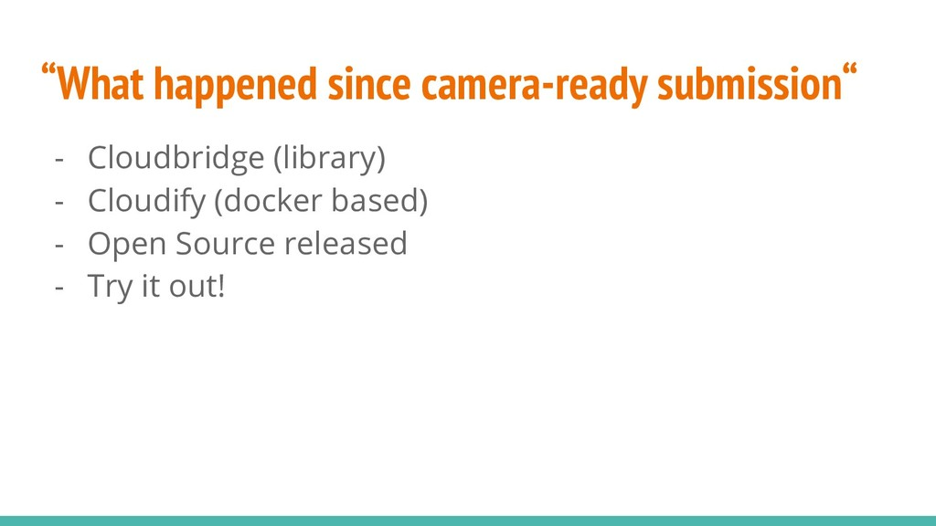 """""""What happened since camera-ready submission"""" -..."""