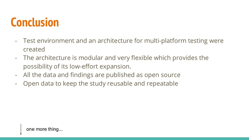 Conclusion - Test environment and an architectu...