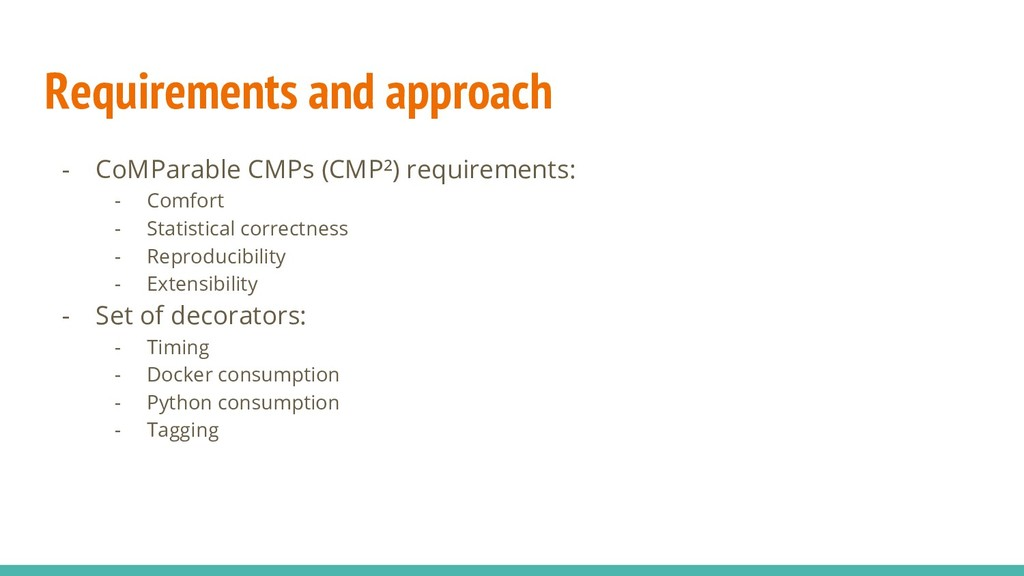 Requirements and approach - CoMParable CMPs (CM...