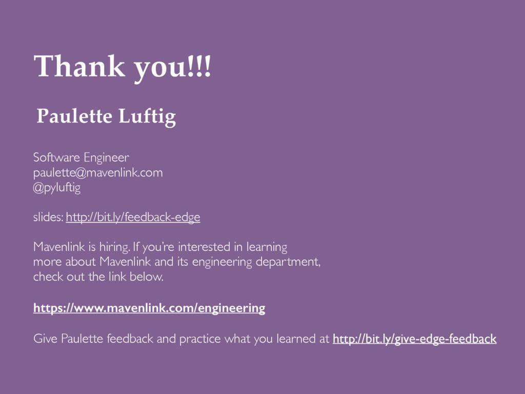 Paulette Luftig Software Engineer paulette@mave...