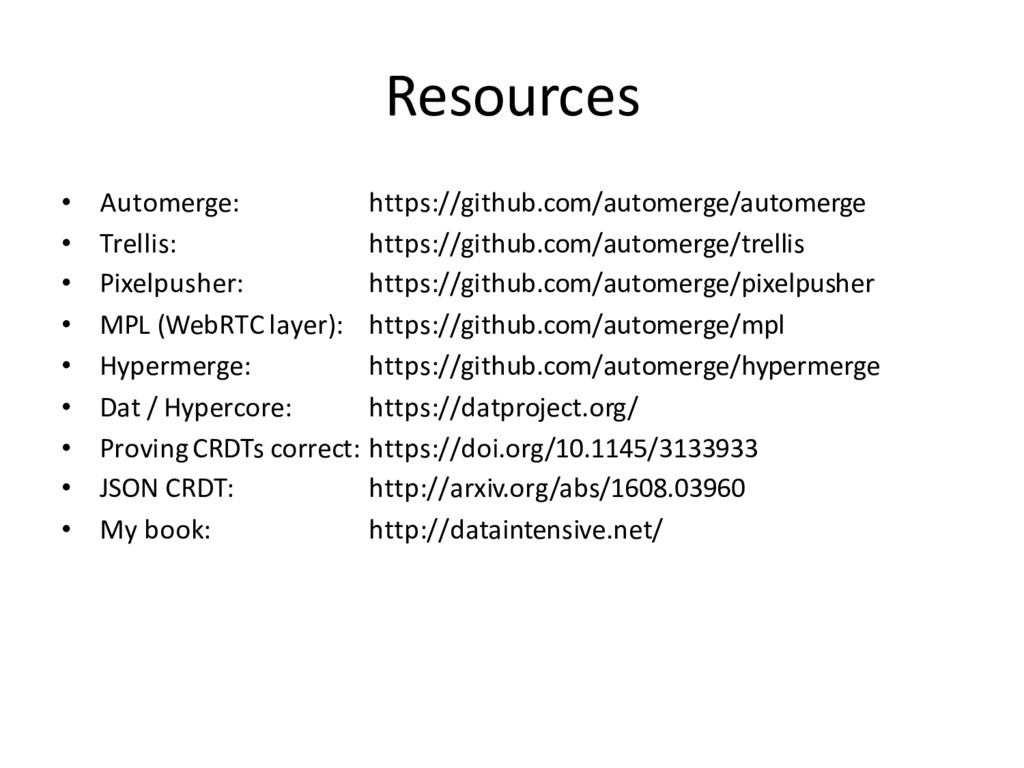 Resources • Automerge: https://github.com/autom...