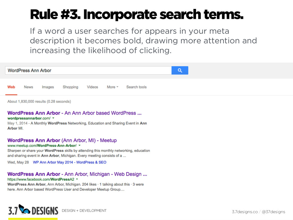 Rule #3. Incorporate search terms. If a word a ...