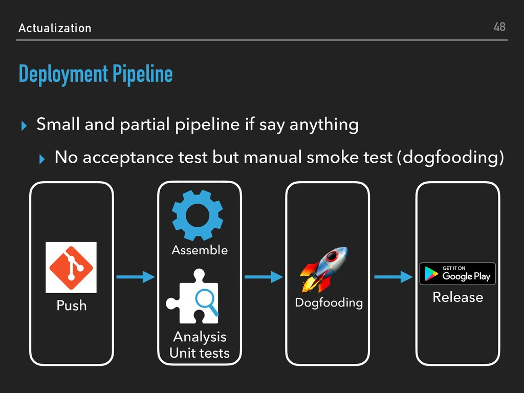 Actualization Deployment Pipeline ▸ Small and p...