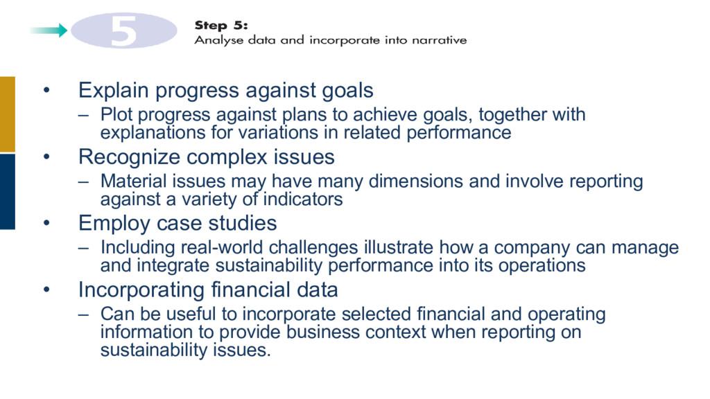 • Explain progress against goals – Plot progres...