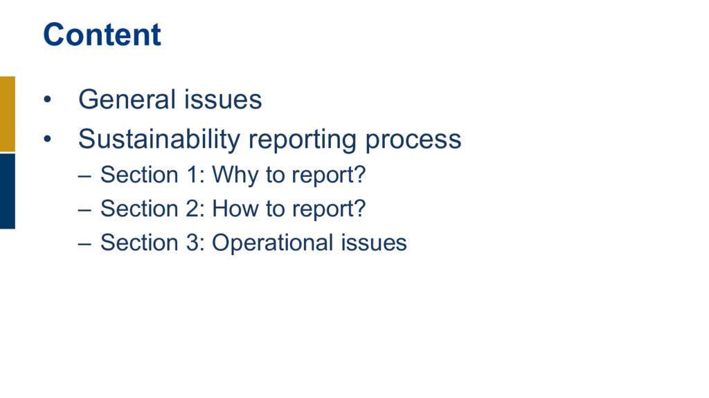 • General issues • Sustainability reporting pro...