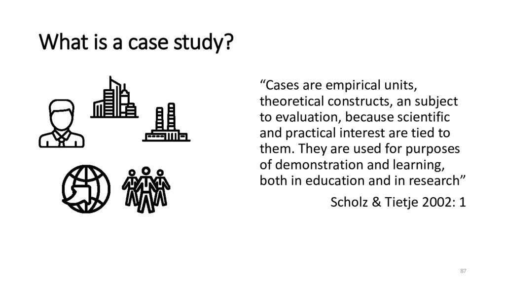 """What is a case study? """"Cases are empirical unit..."""