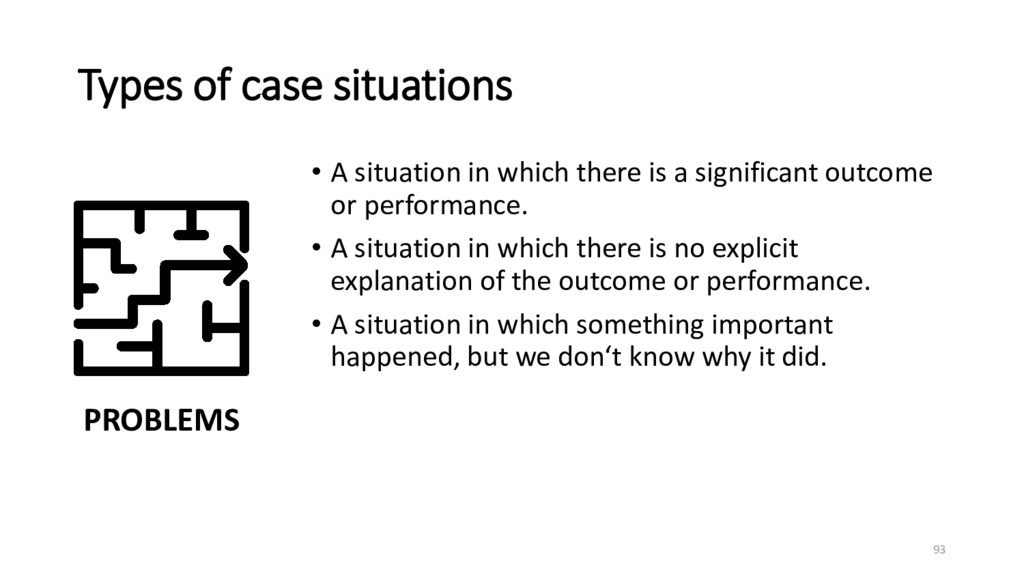 Types of case situations • A situation in which...