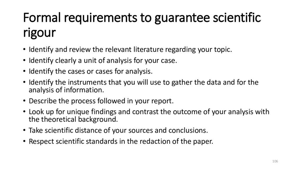 Formal requirements to guarantee scientific rig...