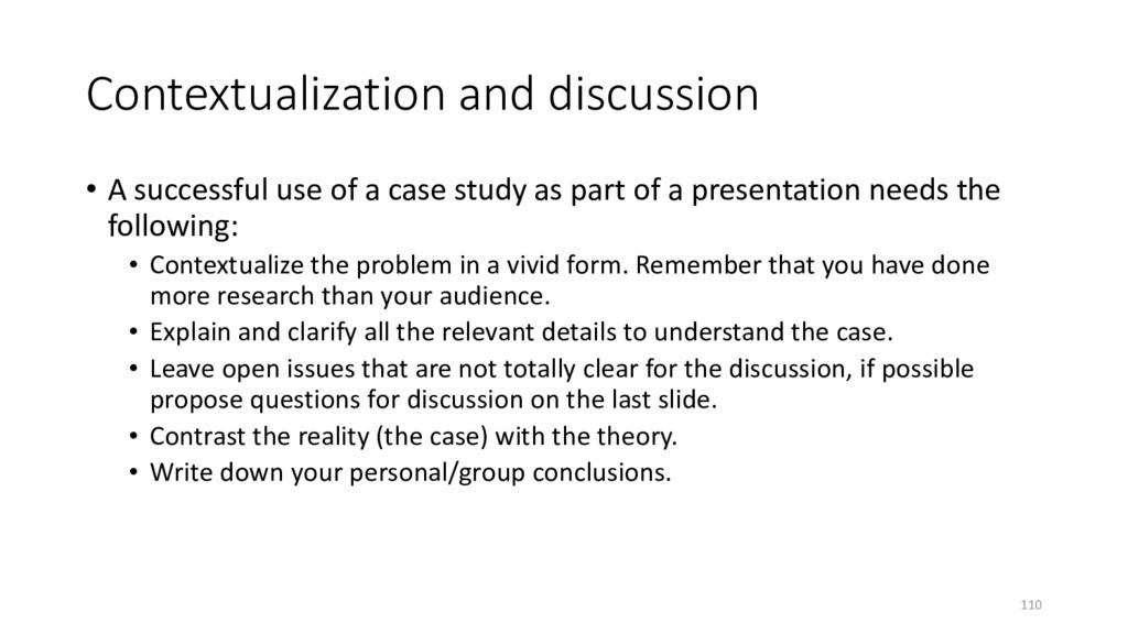 Contextualization and discussion • A successful...
