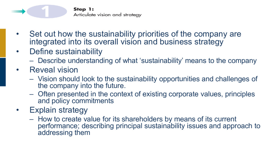 • Set out how the sustainability priorities of ...