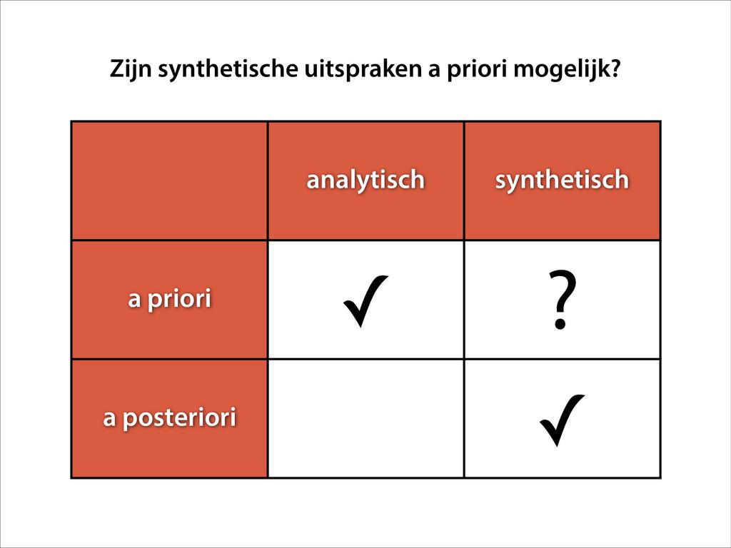 analytisch synthetisch a priori ✓ ? a posterior...