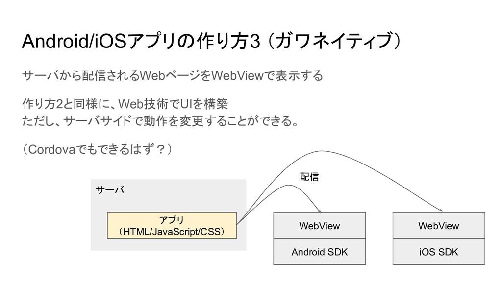 サーバから配信されるWebページをWebViewで表示する 作り方2と同様に、Web技術でUI...