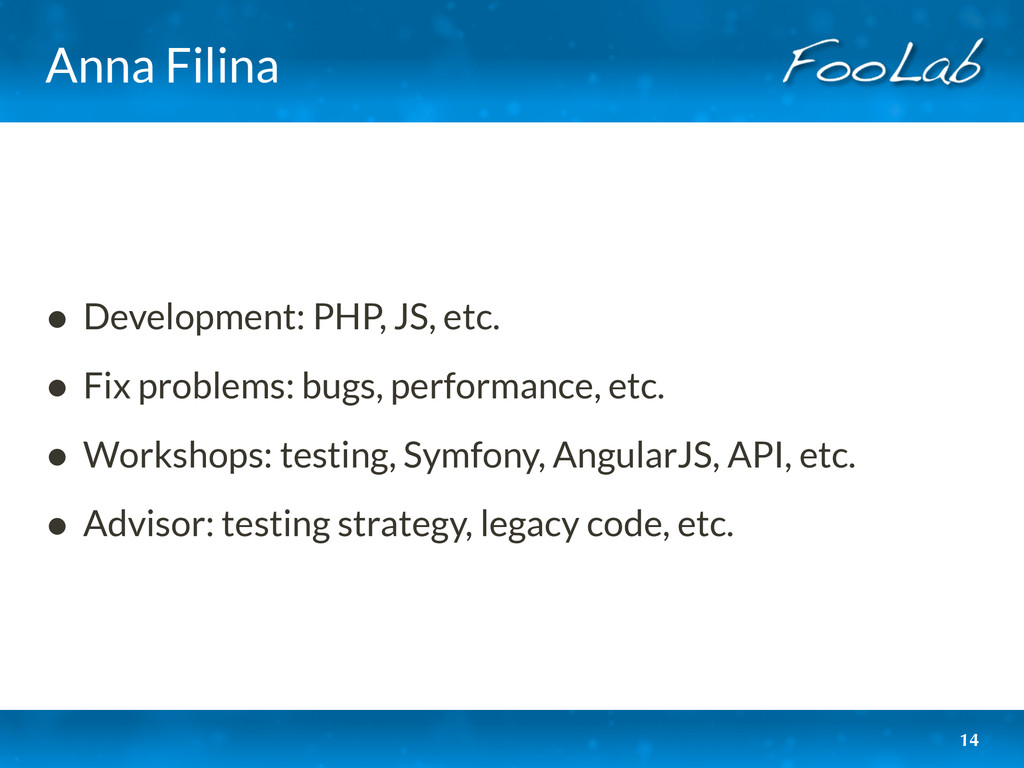 Anna Filina • Development: PHP, JS, etc. • Fix ...
