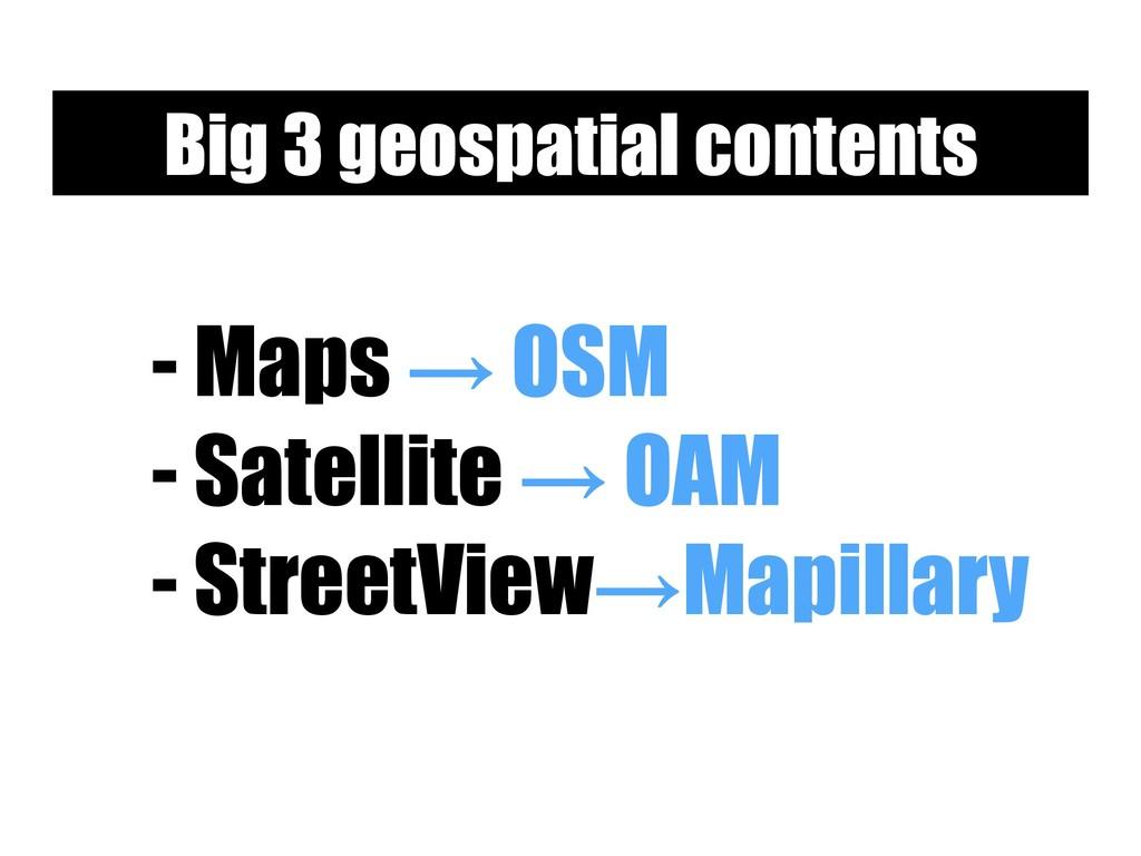 - Maps → OSM - Satellite → OAM - StreetView→Map...