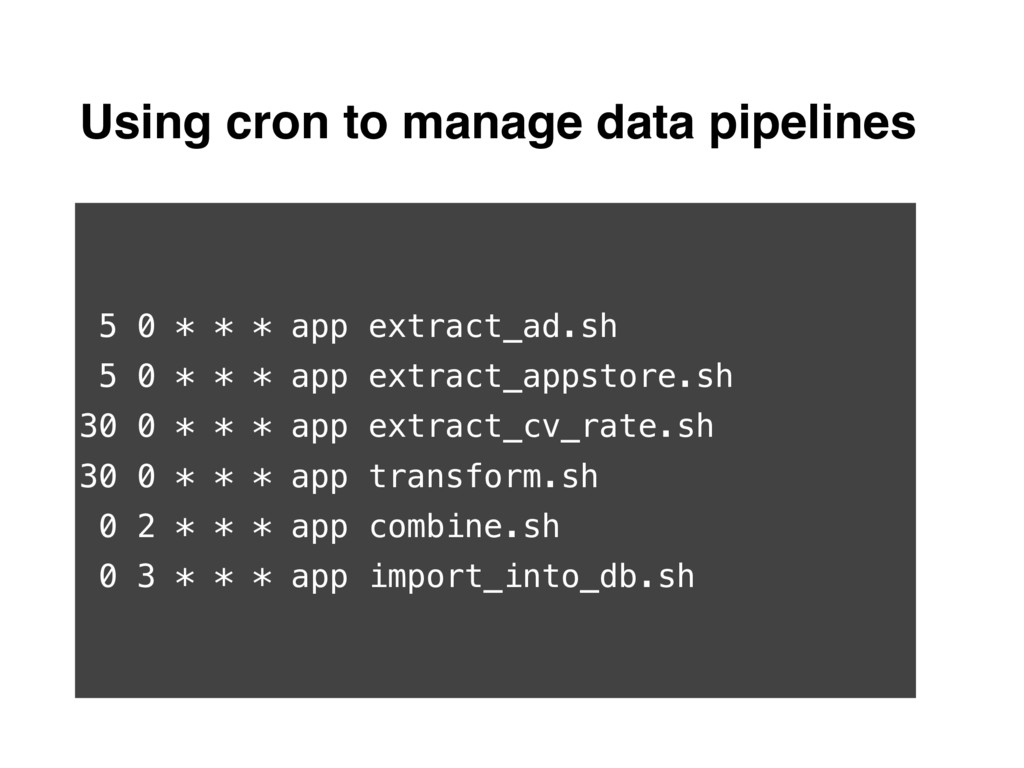 Using cron to manage data pipelines 5 0 * * * a...
