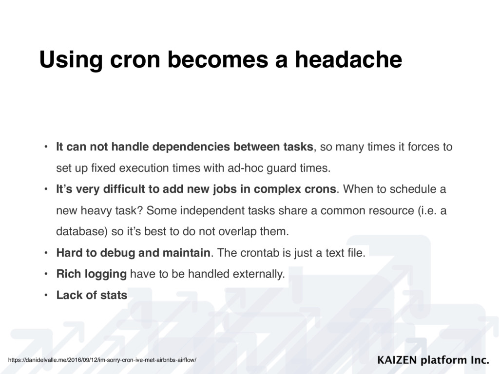 Using cron becomes a headache • It can not hand...