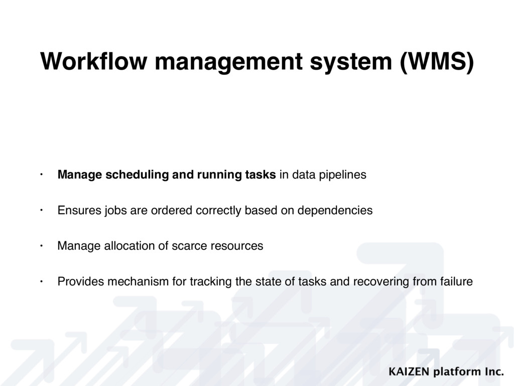 Workflow management system (WMS) • Manage schedu...