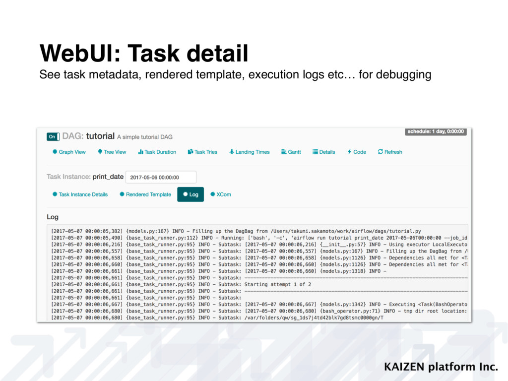 WebUI: Task detail See task metadata, rendered ...