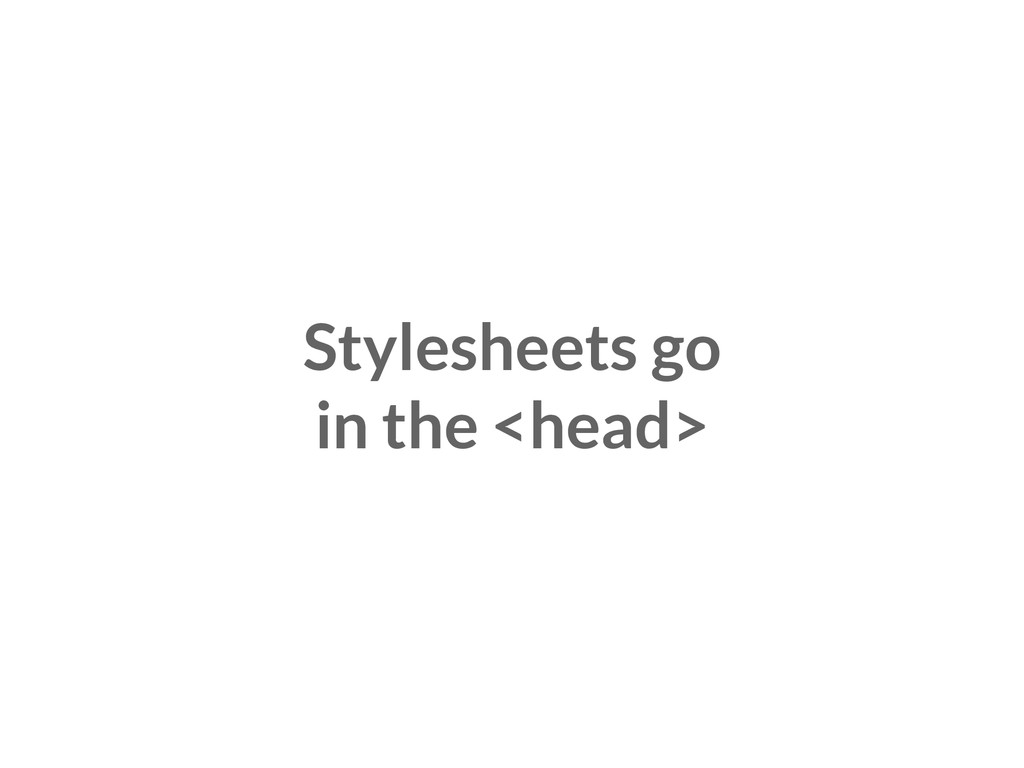Stylesheets go in the <head>