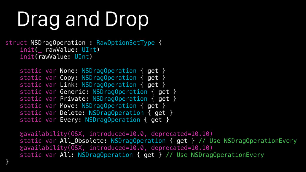 Drag and Drop struct NSDragOperation : RawOptio...